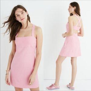 Madewell Pink Linen Cross Back Mini Dress Sz 6